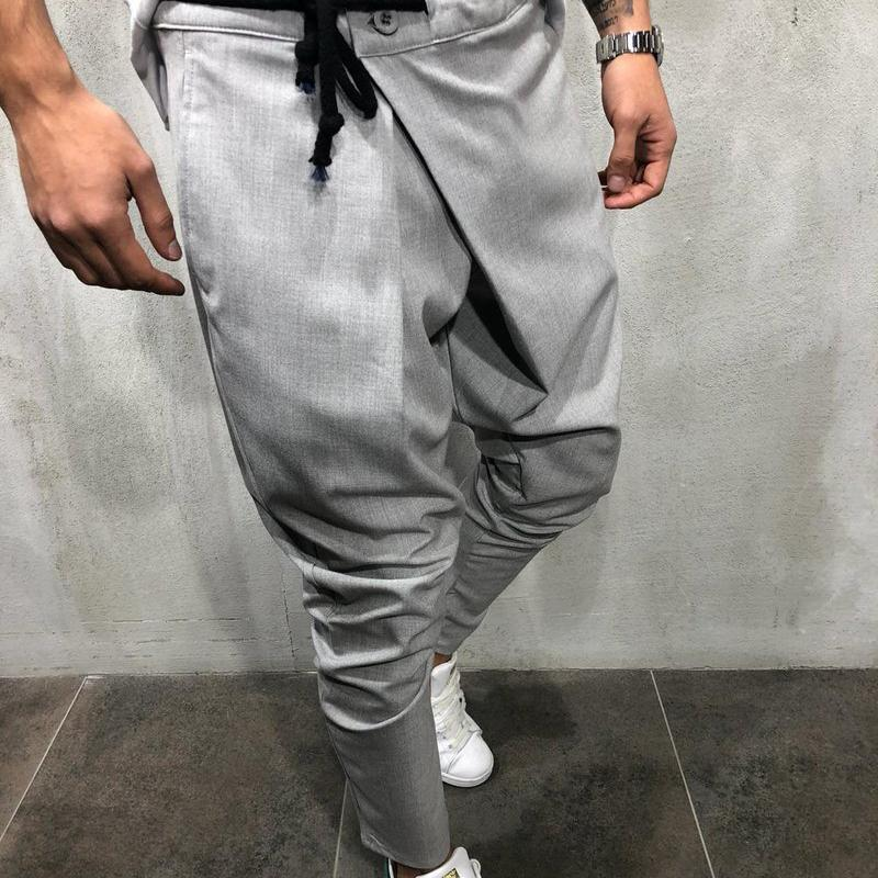 Men Asymmetric Solid Pants