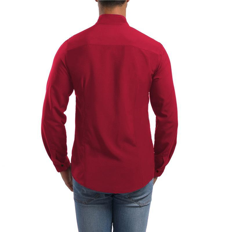 Men Asymmetric Stand Collar Blouse Shirt