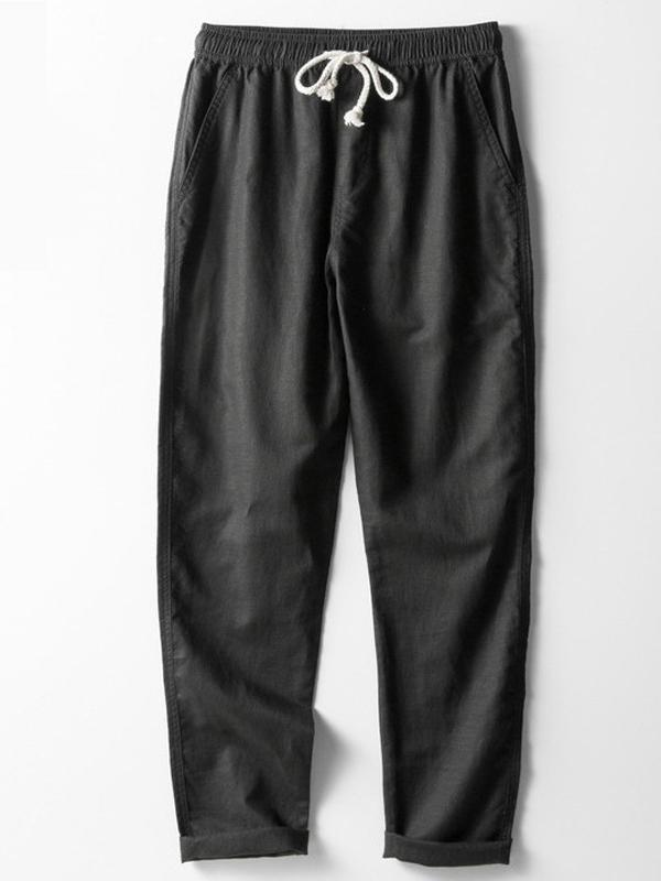 Mens Loose Solid Casual Pants