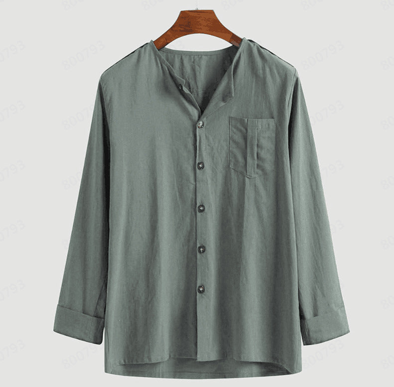 Men Stand-Up Collar Solid Color Long Sleeve Shirt