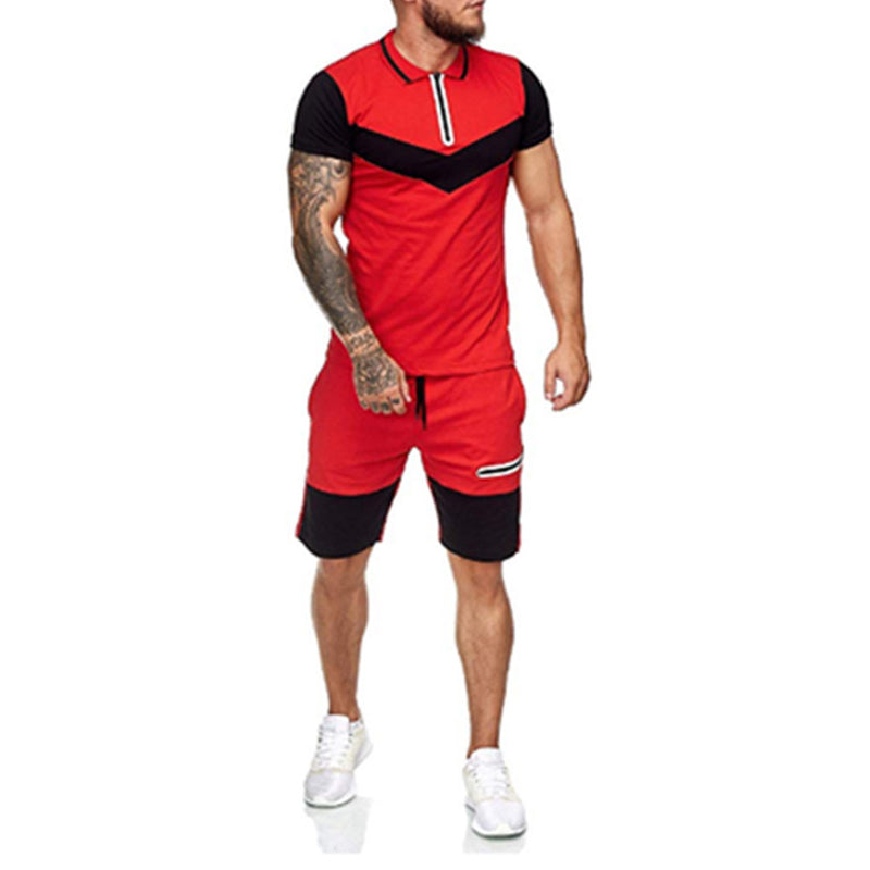 Men Sports Color Matching Outdoor Fitness Leisure Suit
