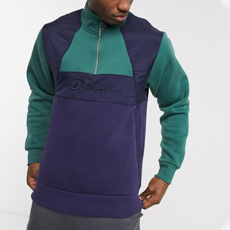 Men Color Block Zipper Casual Sweatshirt