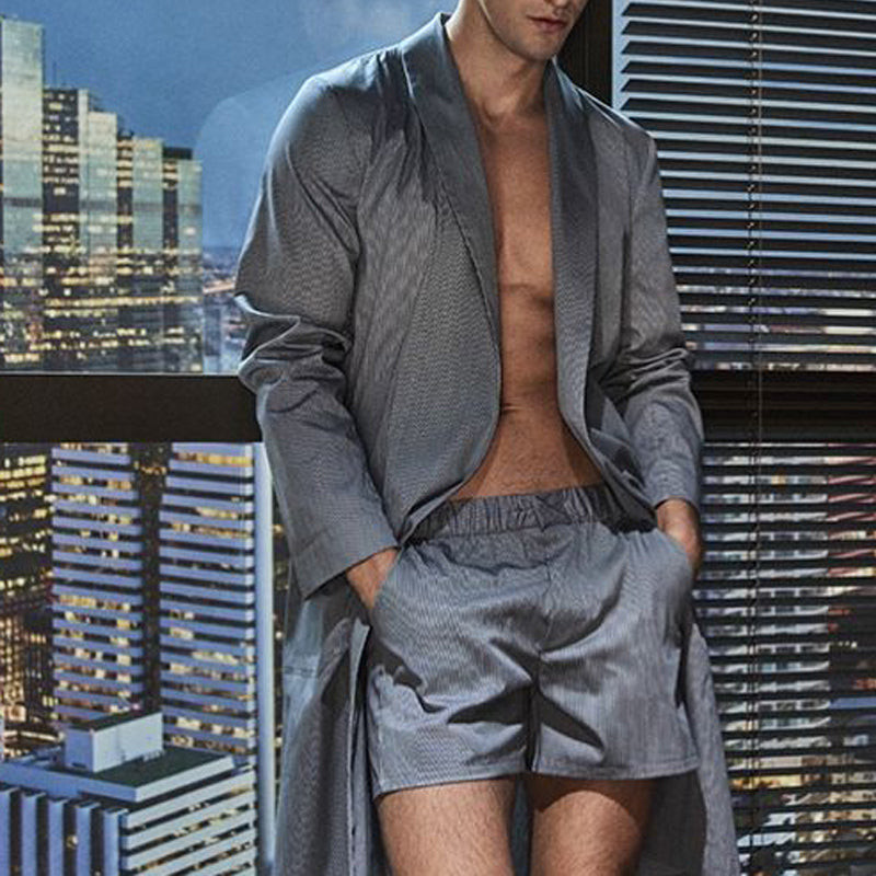 Men Solid Casual Long Sleeve Night Gown Suit