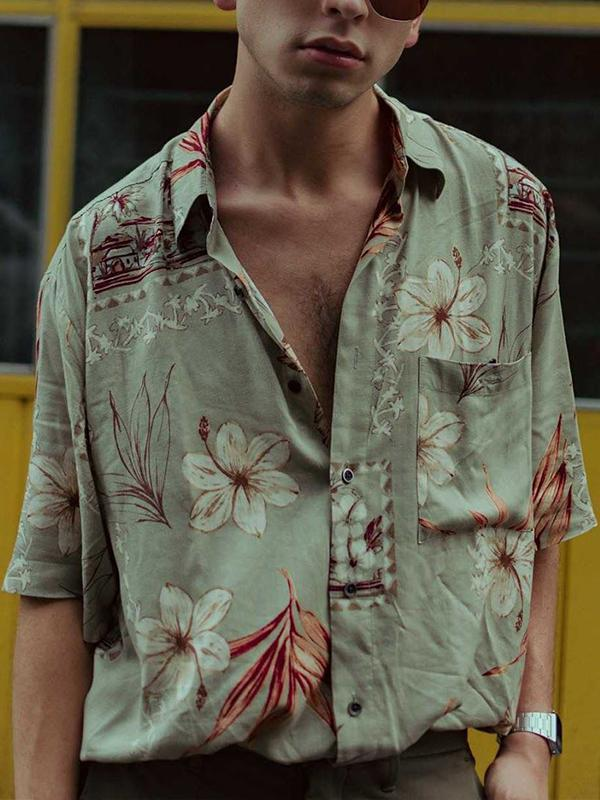Men Lapel Vintage Print Shirt