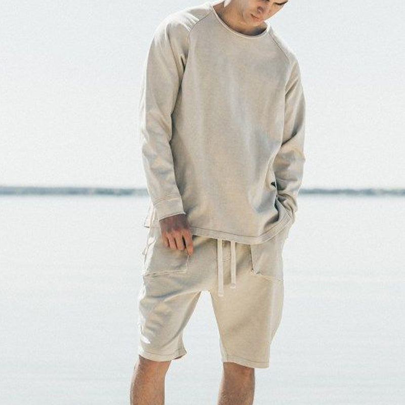 Men Solid Color Casual Loose Sweatshirt Suit