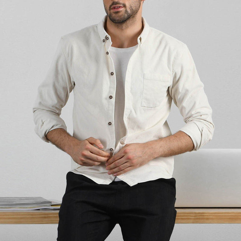 Men Long Sleeves Solid Lapel Shirt