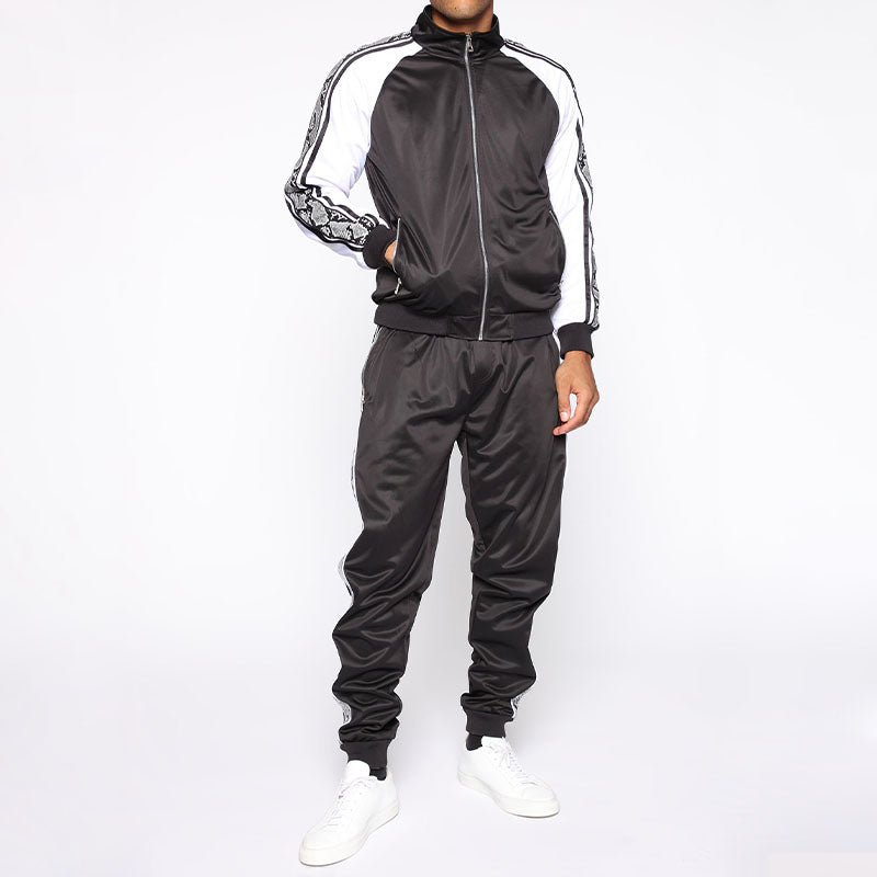 Men Zip Up Two-Piece Tracksuit Black White