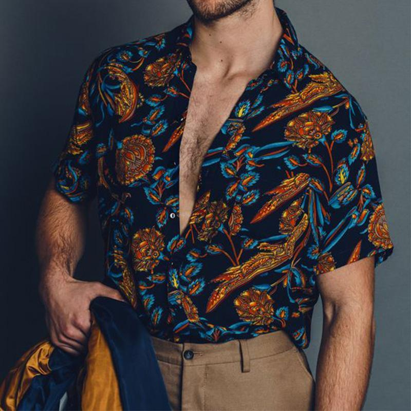 Men Summer Floral Printed Casual Shirt
