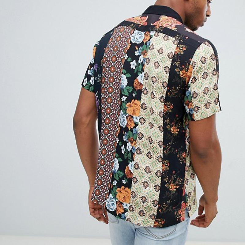 Men Summer Fashion Printed Short Sleeve Shirts