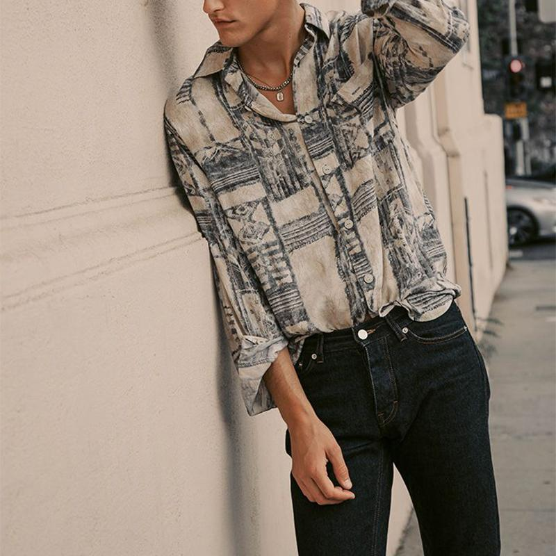 Men Street Style Abstract Print Blouses