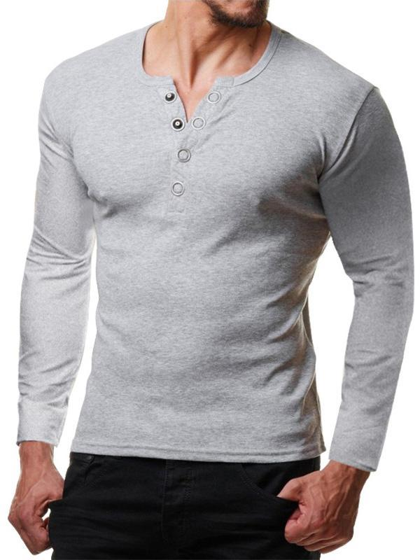 Men V-Neck Long Sleeve Blouse Shirts
