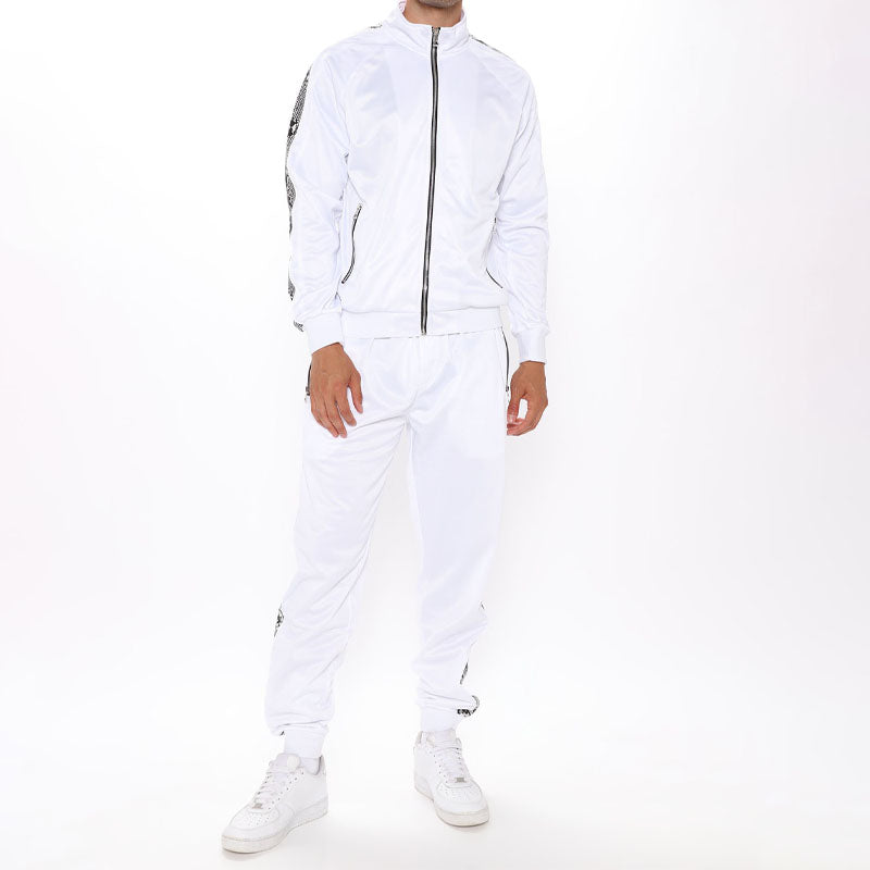 Men Zip Up White Two-Piece Tracksuit
