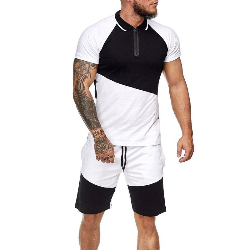 Men Running Short Sleeve Shorts 2 Piece Set
