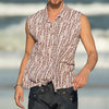 Men Striped Printed Sleeveless Shirt
