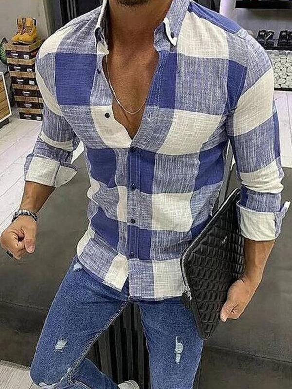 Men Grid Printing Casual Shirt