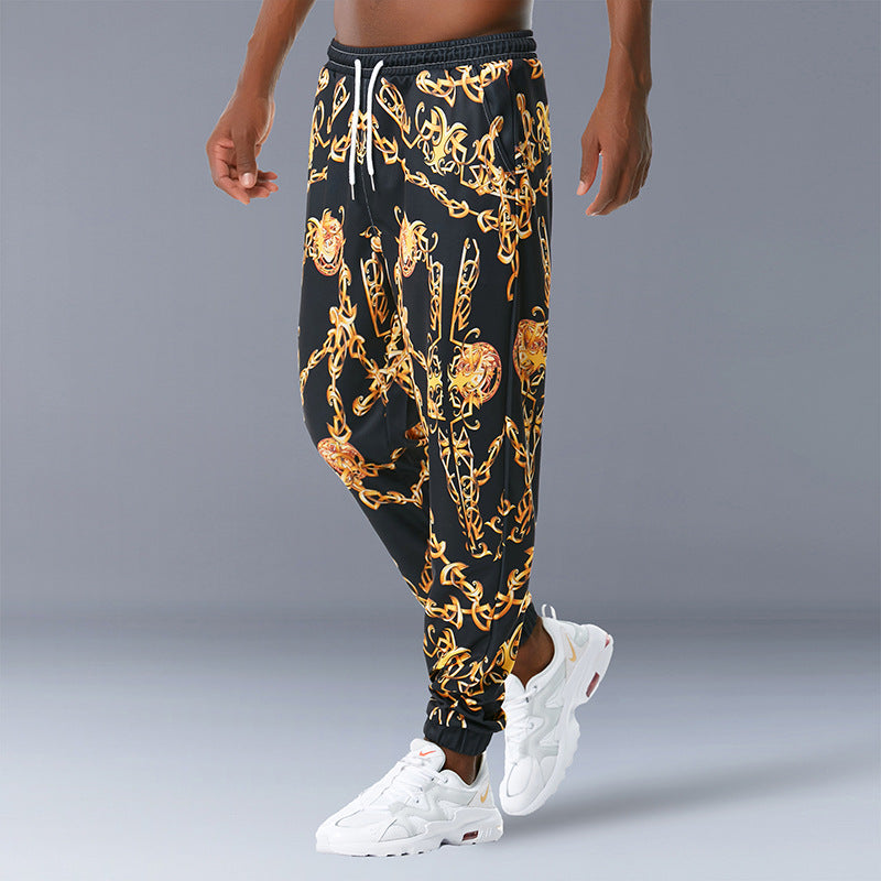 Palace Style Chain Retro Print Casual Trousers