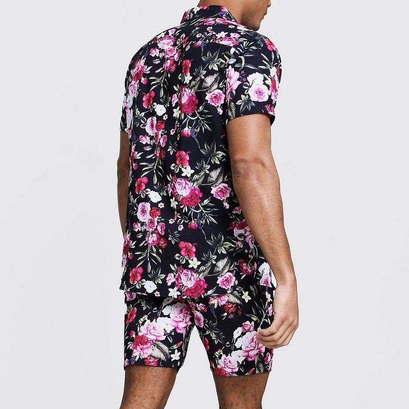 Men Floral Short Sleeves Two-Piece Suits
