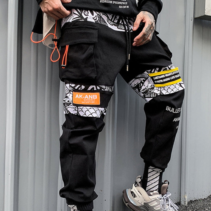 Mens Casual Patchwork Sweatpants Trousers