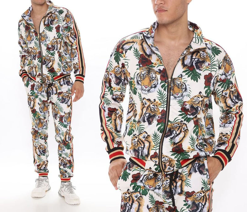 Men Printed Zip Up Two-Piece Tracksuit