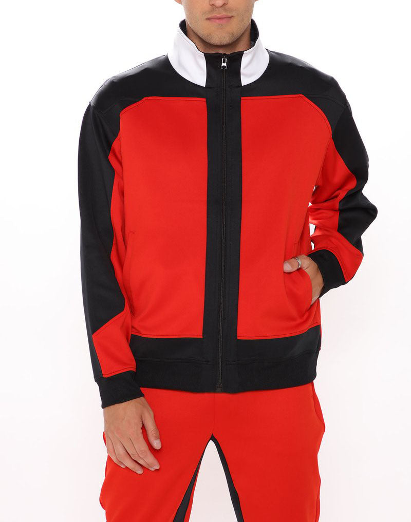 Men Colorblock Zip Up Jacket Tracksuit