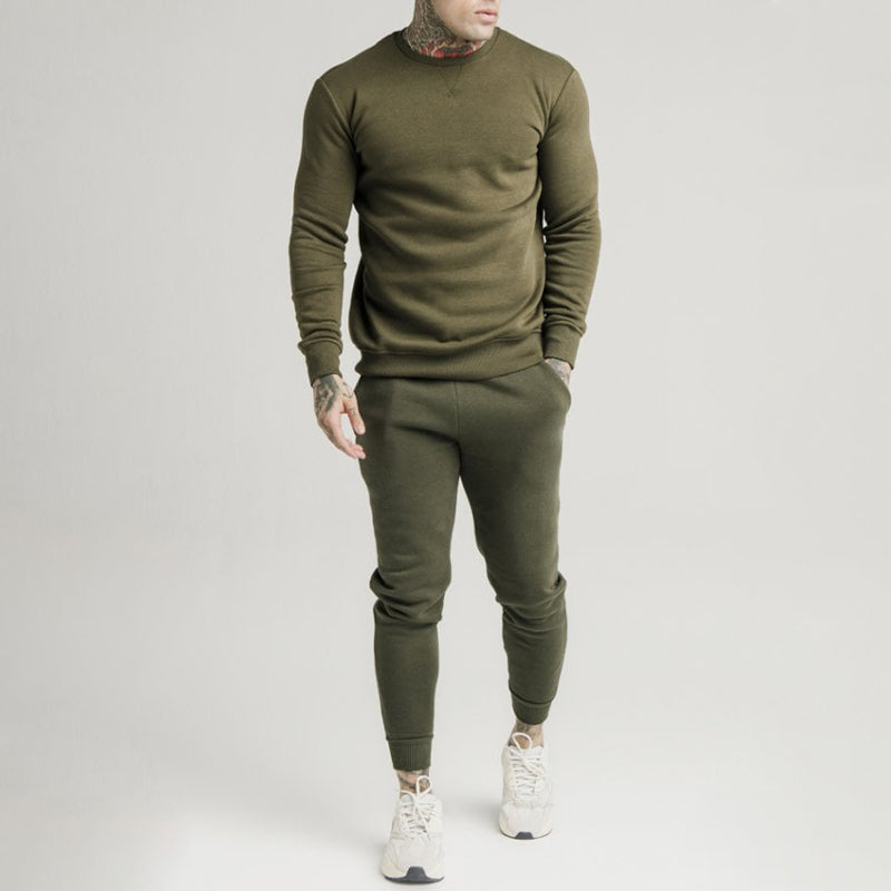 Men Solid Color Printed Slim Sweatshirt