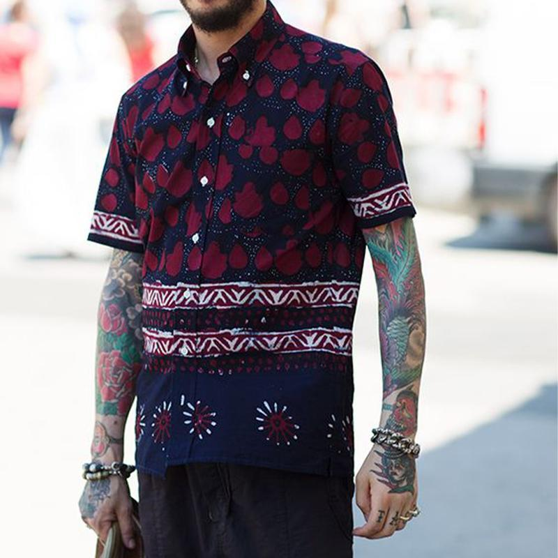 Men Holiday Print Lapel Short Sleeves Shirt
