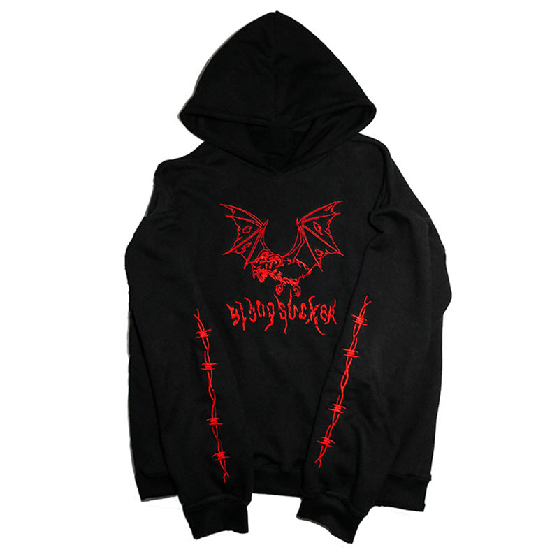 Men Loose Pullover Embroidered Hoodies