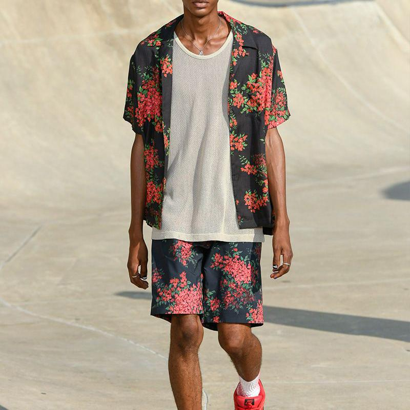 Men Tropical Print Party Two-Piece Suits