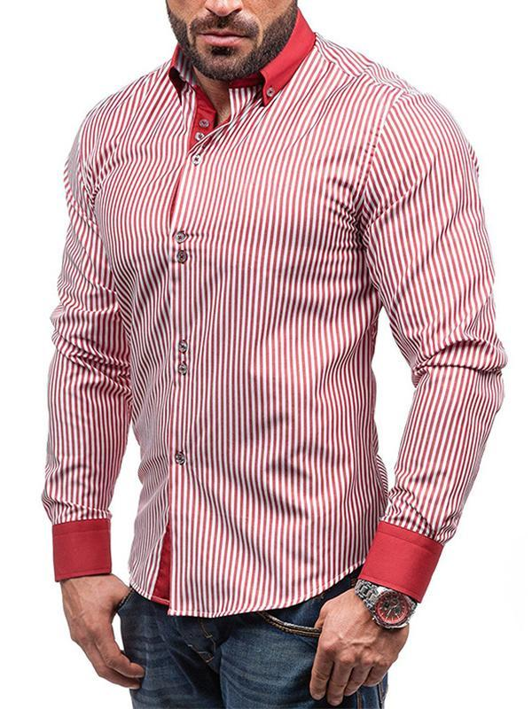 Men Long Sleeve Stripe Shirt