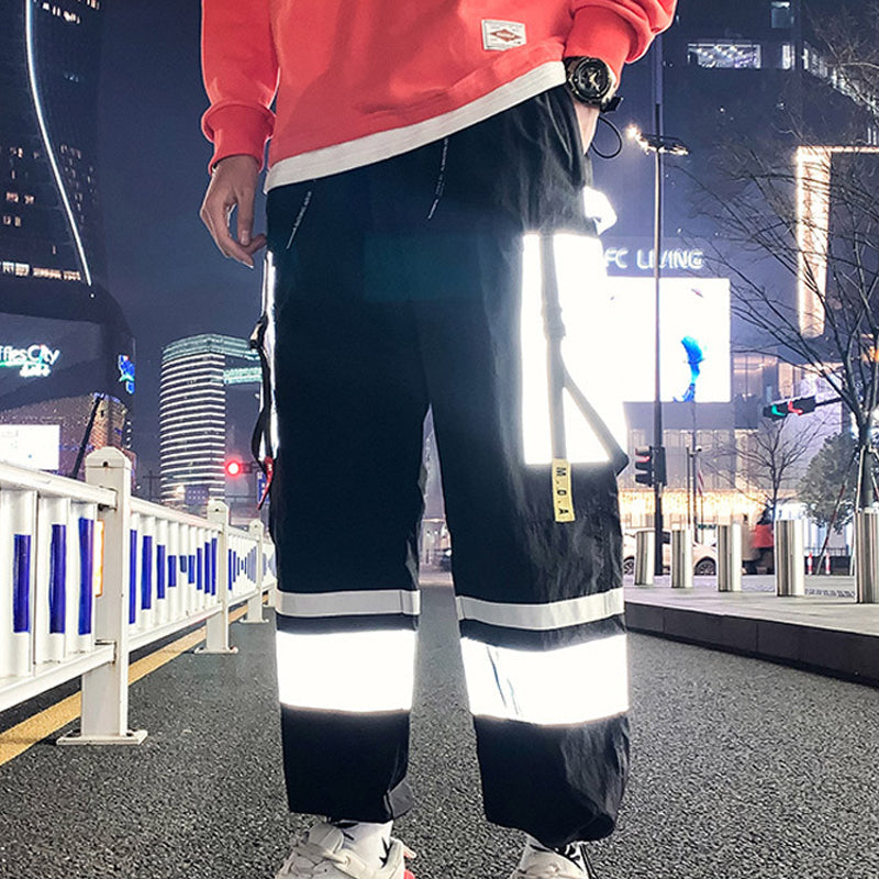 Men Hip-Hop Reflective Jogger Loose Trousers