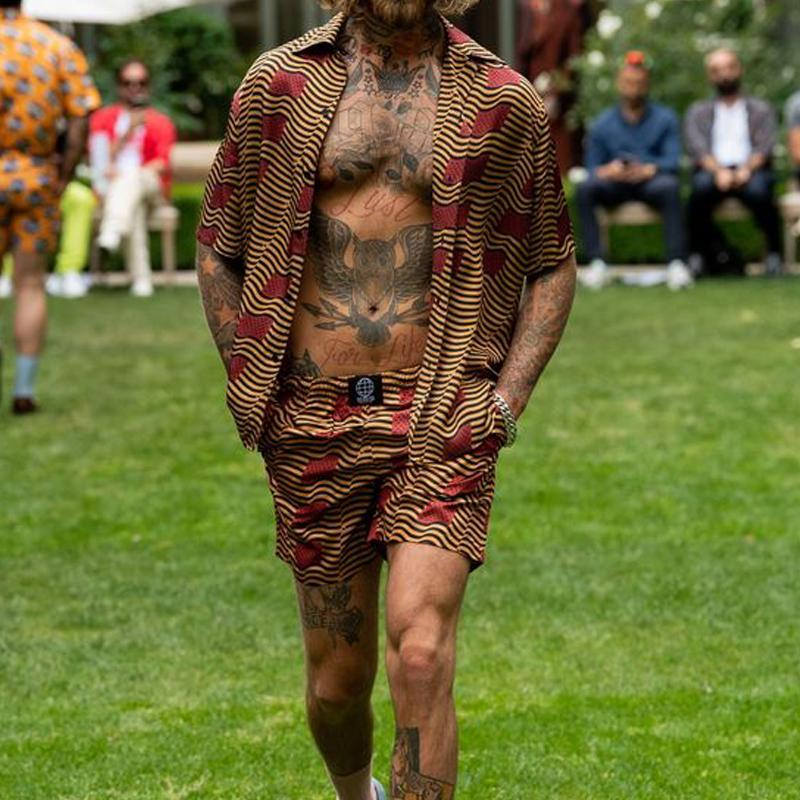 Men Fashion Printed Two-Piece Suits