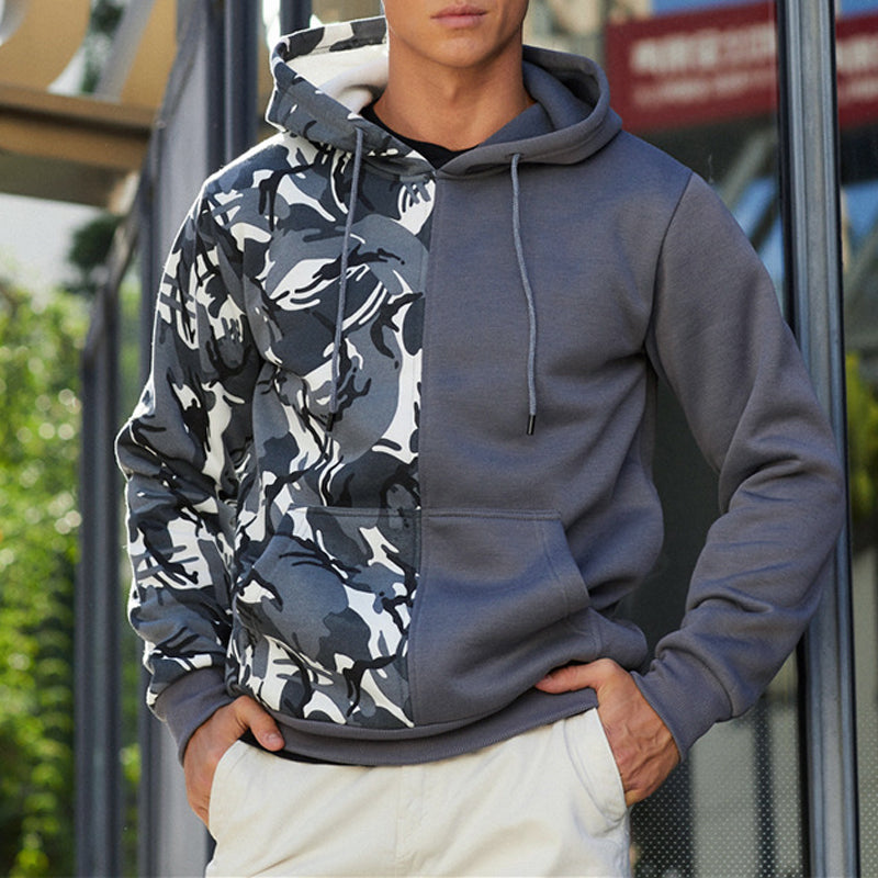 Men Camouflage Double Block Contrast Color Street Hoodies