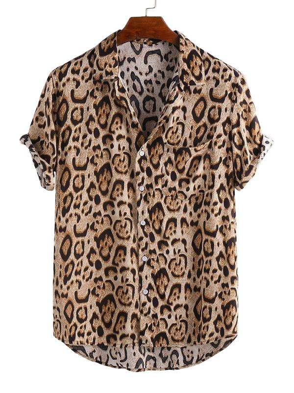 Mens Summer Leopard Printed Blouses&Shirts