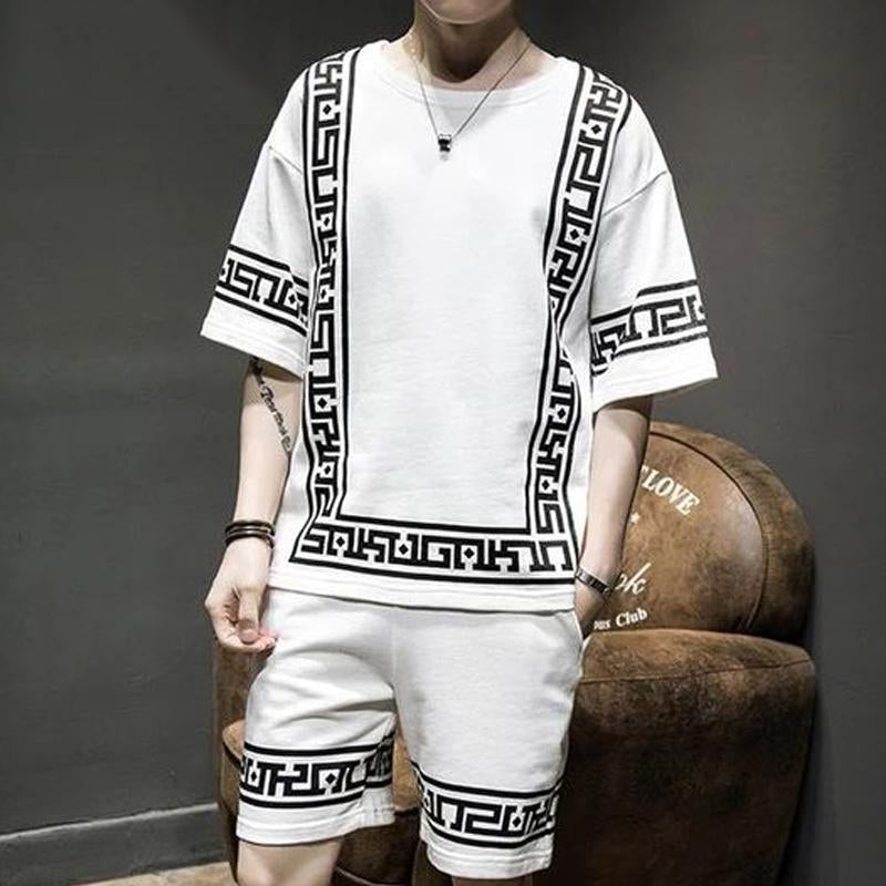 Men Contrast Color Printed Short Sleeves Suits