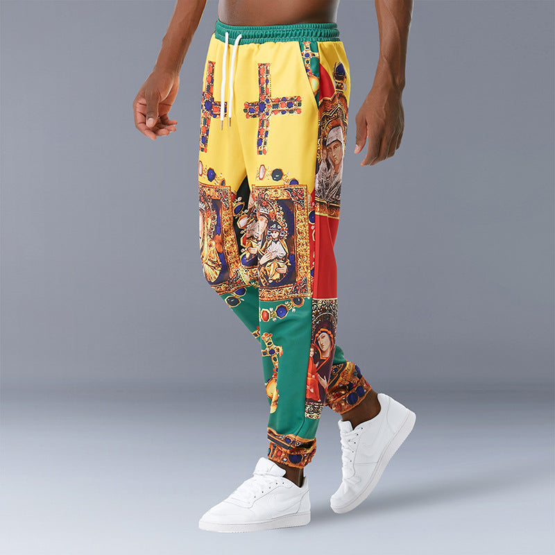 Retro Tribal Print Casual Trousers