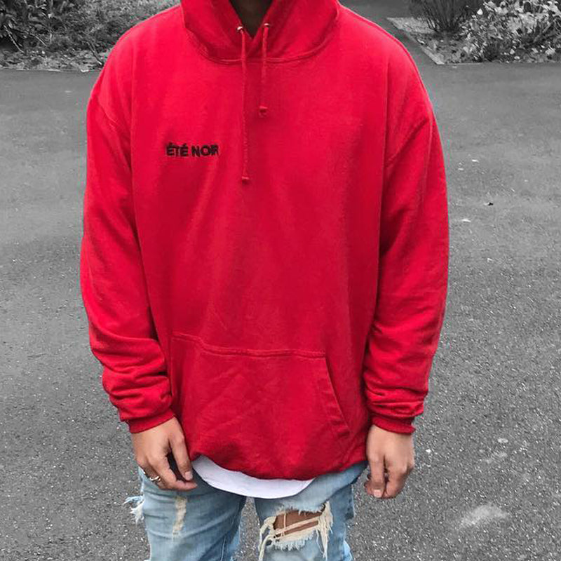 Men's Loose Round Neck Casual Hoodie Red