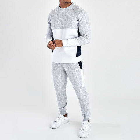 Men Color Block Jogger Pullover Sweatshirt Suit