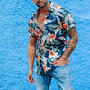 Men Blue Floral Printed Lapel Short Sleeves Shirt