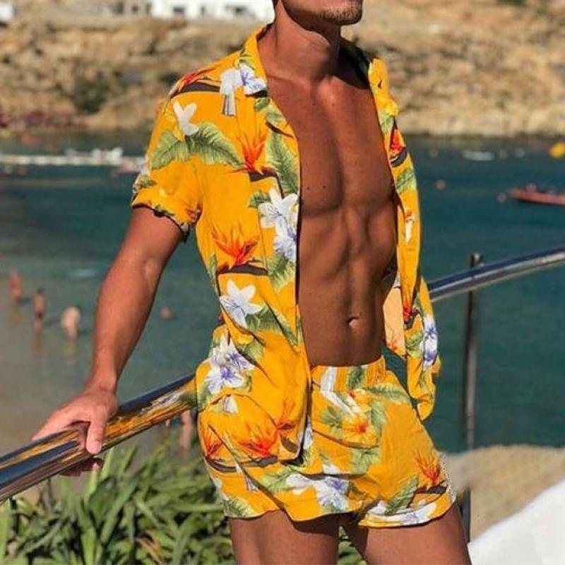 Men Floral Print Holiday Suits Two-Piece Set