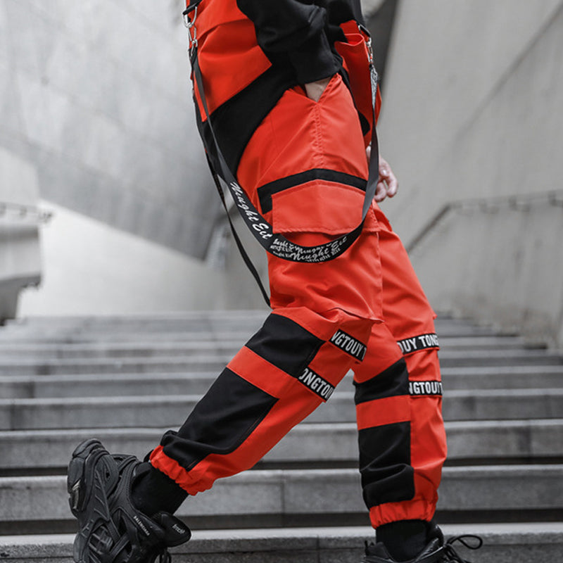 Men Street Contrast-Colored Cool Jogger Trousers