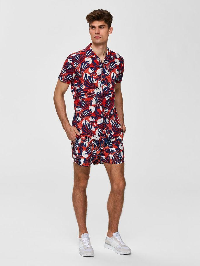Men Casual Red Floral Summer Shirts