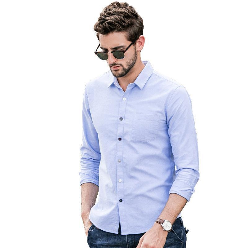 Men Solid Casual Business Blouse Shirt