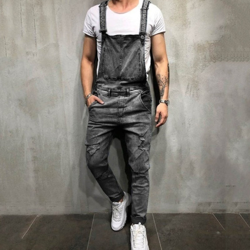 Men Fashion Ripped Denim Overalls Trousers