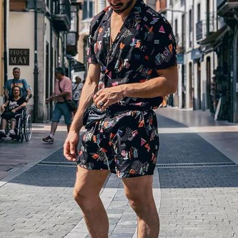 Men Summer Holiday Printed Two-Piece Suits