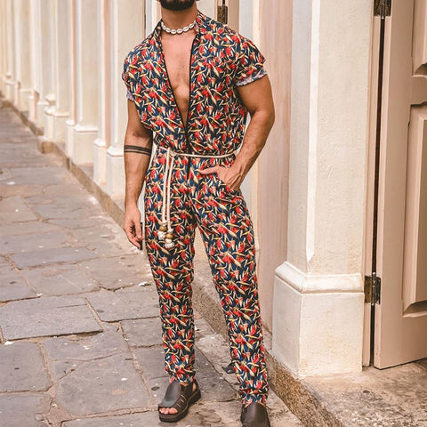 Men Summer Trends Ethnic Printed Two-Piece Suits