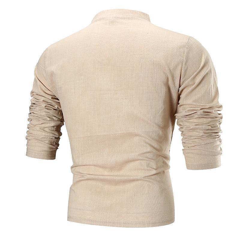 Men Simple Solid Long Sleeves Blouse Shirt