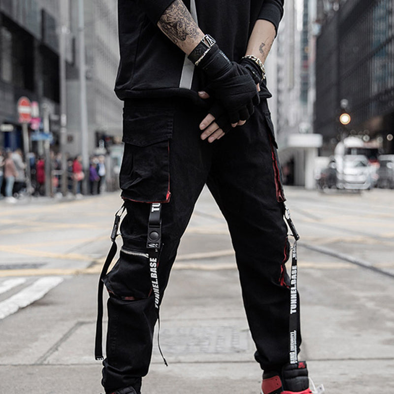 Mens Street Style Ribbon Jogger Cargo Trousers