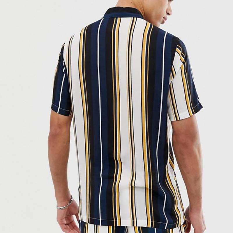 Men Lapel Stripe Short Sleeves Two-Piece Sets
