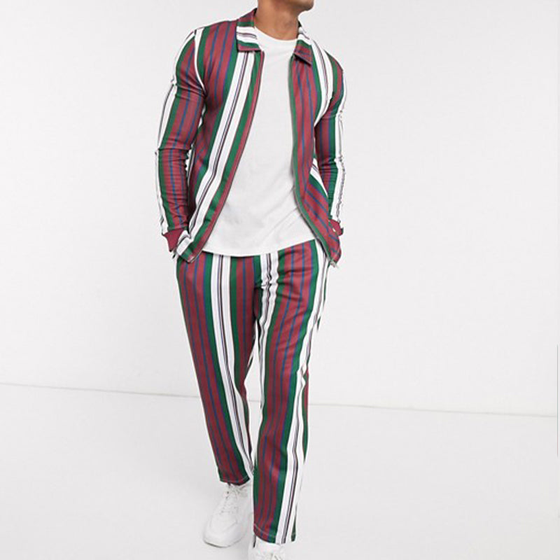 Two-Piece Set Muscle Fit Stripe Jacket Suit