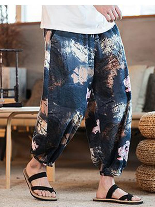 Men Summer Ethnic Style Printing Wide Leg Casual Pants Bottoms
